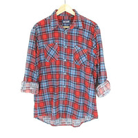 Vintage 90s Flannel Shirt -- Light Blue and Red Plaid -- Flannel Work Shirt -- Long Sleeve -- Lightweight Soft Flannel -- Unisex -- Mens S