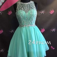 Green round neck chiffon beaded short prom dress, cute homecoming dress - 24prom