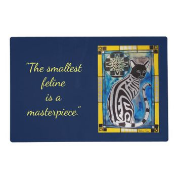 The Smallest Feline is a Masterpiece Cat Art Placemat