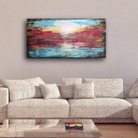 Large Abstract painting. original abstract canvas painting colorful