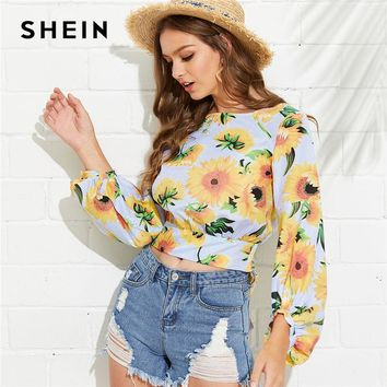SHEIN Multicolor Vacation Boho Bohemian Beach Floral Print Boat Neck Bishop Long Sleeve Striped Blouse Summer Women Shirt Top