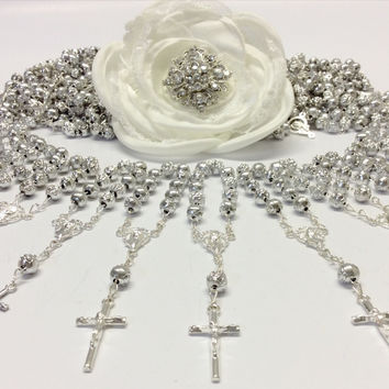 100 pcs Pearl First communion favors Recuerditos Bautizo 100pz/ Mini Pearl Rosary Baptism Favors 100pcs