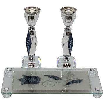 Shabbat Glass Candle Sticks & Tray Collections