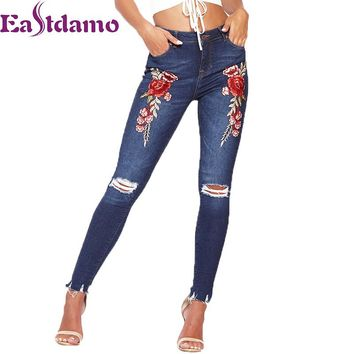 Eastdamo 2017 Blue Women's Embroidered Jeans 3D Rose Printed Sexy Boyfriend Hole Ripped Jeans High Waist Slim Pencil Denim Pants