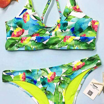Cupshe Oil Painting Floral Bikini Set