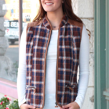 Quilted Vest with Suede Contrast on Plaid {Mocha Mix}