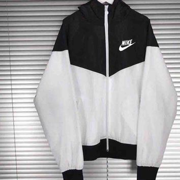 """NIKE"" Windbreaker Zipper Women Men Coat Jacket Contrast Cardigan"