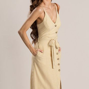 Georgie Mustard Striped Button Dress