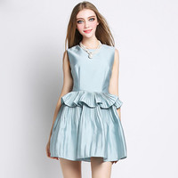 Light Blue Sleeveless Ruffled Mini Skater Dress