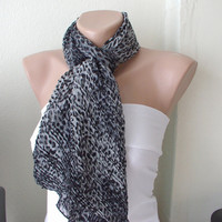 Leopard Chiffon ScarfGrey and BlackRuffle by Periay on Etsy