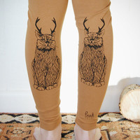 Wild Catalope Leggings - Womens Camel Jersey Spandex High Waist Cat wild catalope Leggings - Camel and Black - by Bark Decor