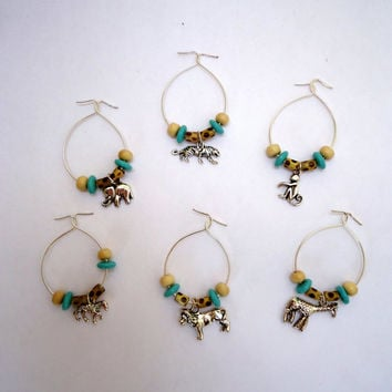 Wine charmers endangered species silver tone animals with natural wood,blue glass and leopard style beads