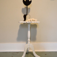 Vintage Distressed Shabby Chic White Side / End Table / Pot Stand