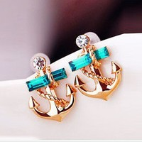 Fashion rhinestone anchor earring