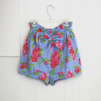 Bloomer Shorts Floral Blue Cotton Summer Beach 50's by daileedose