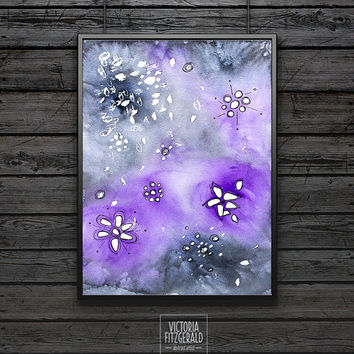 Watercolour Art Print Grey and Purple, A4 Fine Art, Ink Pen Drawings, Watercolour Patterns