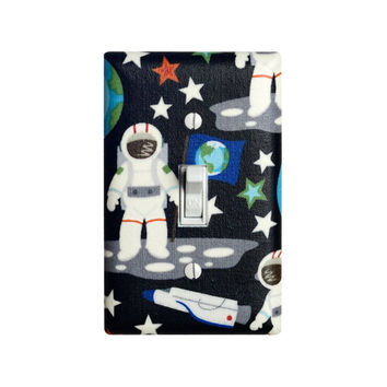 Space and Astronaut Light Switch Plate Cover / Space Ship / Boys Kids Play Room