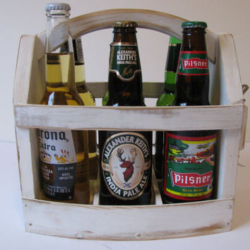Handmade Beer bottle six pack carrier Wood beer box 6 pack carrier Beer boat.