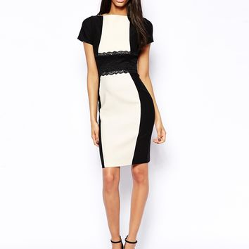 Vesper Sexy Pencil Dress with Lace Waist