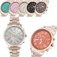 Colorful Stainless Steel Big Dial Quartz Watch -6 Color Options-