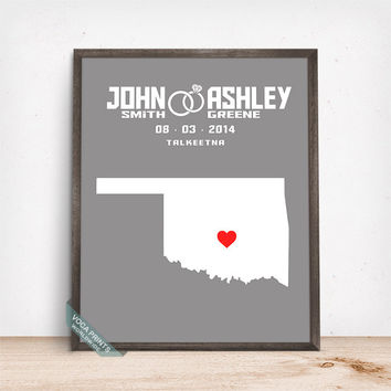 Oklahoma Map Print, Engagement Gift, Wedding Print, Anniversay Gift, Custom Map Print, Customized Gifts, Office Decor, Mothers Day Gift