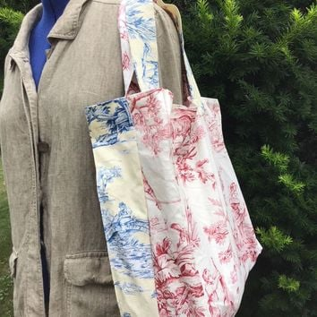 Carry All Tote Bag Toile Home Decor Vintage Fabric in Red and Blue