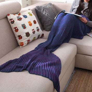 Mermaid Blanket Yarn Knitted Mermaid Tail Blanket Handmade Crochet Soft Home Sofa Sleeping Bag Adults Sleeping Throw ZQ989216