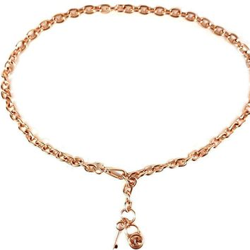 Michael Kors Mk Logo Lock Key Rose Gold Chain Belt