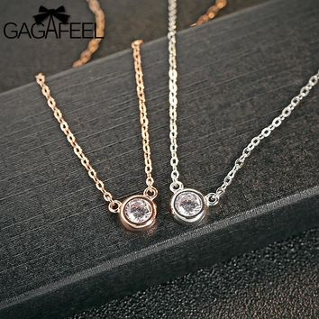 GAGAFEEL Round Zircon Women's Necklace 925 Sterling Silver Jewelry Short Clavicle Link Chain Silver/Rose Gold Color Pendants New