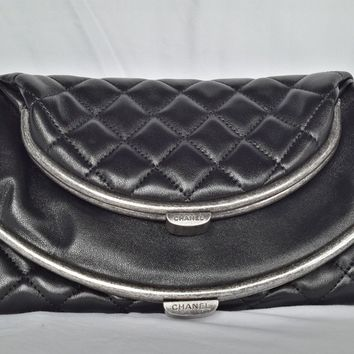 Authentic Chanel Quilted Clutch Flap Bag in Black Lambskin