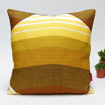 """Mid Century Modern Retro pillow cover - 40x40 / 16x16"""" - Handmade with Love from Vintage Fabrics in yellow and brown"""