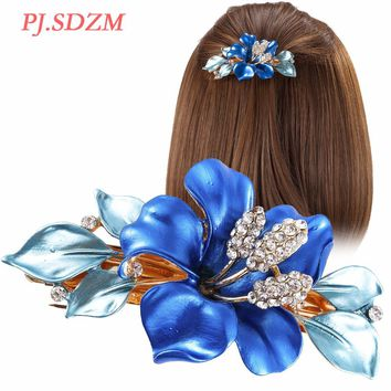 PJ.SDZM Horsetail Headwear Flower Crystal Hair Clip Luxury Austria Rhinestone Hairpins Girl Fashion Barrettes Hair Accessory