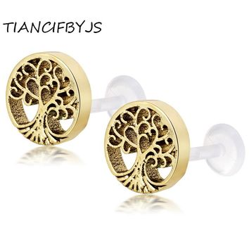 TIANCIFBYJS  Piercing Nose Lip Jewelry Body Jewelry For Man Women Studs Tree of life and bead Flower Tragus Earring Labret Bar