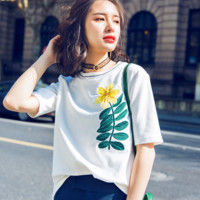 Fashion White Leaves Flower Embroider Casual Loose Round Neck Tee Top