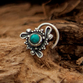 Turquoise Nose Stud - Silver Nose Stud - Tiny Nose Stud - Nose Jewelry - Nose Piercing - Nostril Stud - Nostril Jewelry - Tribal Nose Stud