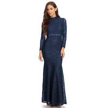 Long Sleeve Lace Full Length Dress Navy Blue Mock 2 Piece High Neck