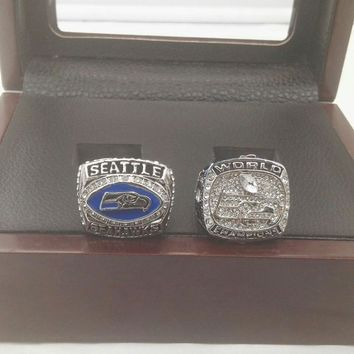 Drop shipping 2pcs Per Set  2005 2013 Seattle Seahawks 2pc Championship rings With Wooden Boxes