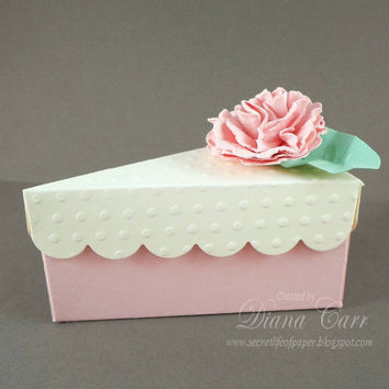 Cake Slice Wedding Favor Box - Pink and Cream with Handmade Flower - Wedding Favors, Party Favors