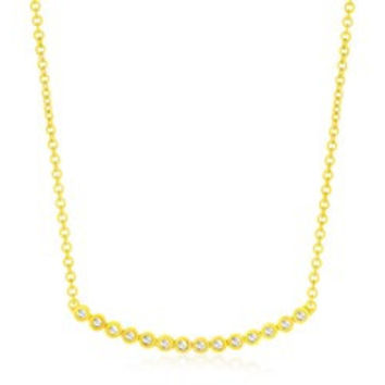 Diamond Accented Curved Circle Link Necklace in 14K Yellow Gold
