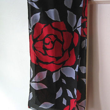 Grey, Red & Black Silk Scarf - Rose Print Scarf - Red Rose Head Scarf - Gypsy Head Wrap - Rose Print Neck Scarf - Bohemian Scarf