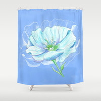 Blue Flower Shower Curtain - Vibrant  fabric shower curtain, floral, blue, garden decor, bright home