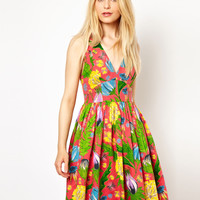 French Connection | French Connection Halter Dress In Tropical Floral Print at ASOS