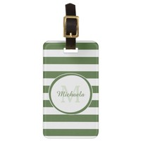 Monogrammed Name Chic Big Treetop Green Stripes Travel Bag Tag