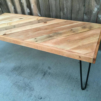 Golden pecan half chevron/ diagonal pattern Coffee table , Pallet wood , Reclaimed, hand crafted, wooden table, furniture