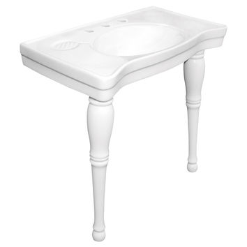 "Kingston Brass Imperial White China Wall Mount Pedestal Bathroom Sink with 8"""" Center - White"