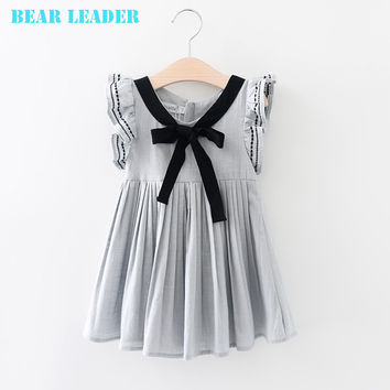 Bear Leader Princess Dress Girl Costume 2016 Brand Girls Dress Children Sleeveless Bow Straight Kids Dresses for Girls Clothes