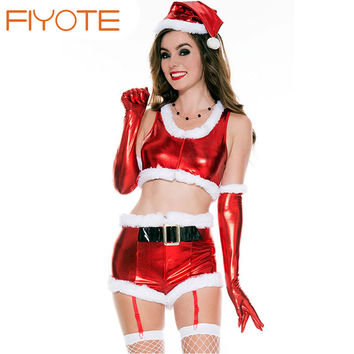 FIYOTE Stylish White Fur Trim Mesh Splice Hooded Santa Babydoll Set LC7264 sexy christmas costumes santa claus for adults