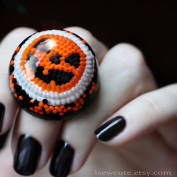 Halloween Ring, Novelty Ring, Pumpkin Jewelry, Halloween Candy Novelty, Trick or Treat, Giant Adjustable Ring, Jewelry made by isewcute
