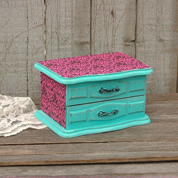 Jewelry Box, Shabby Chic, Tiffany Blue, Turquoise, Hot Pink, Hand Painted, Damask, Decoupage, Distressed