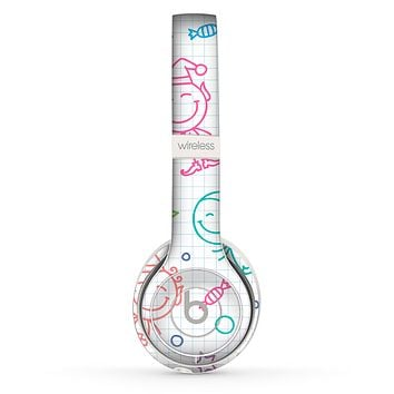 The Colored Happy Doodle Angels and Elves Skin Set for the Beats by Dre Solo 2 Wireless Headphones